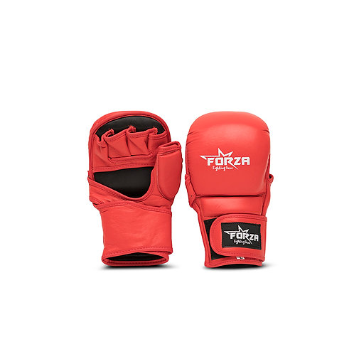 FORZA GENUINE LEATHER RED CLOSED MMA GLOVES
