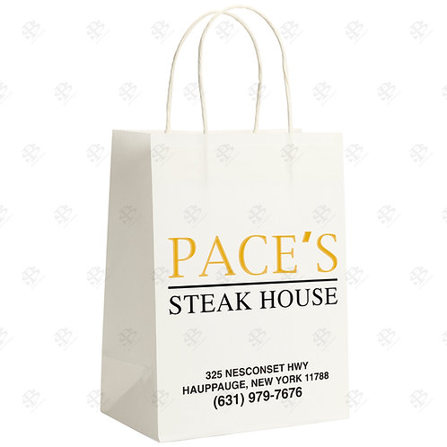 "8 3/4"" x 6"" x 14"" SHOPPER Custom Printed White Shopping Bag 250 pc./Case"
