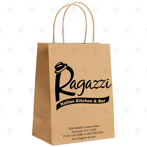 "8 1/4"" x 4 3/4"" x 10 1/4"" TINY Custom Printed Kraft Shopping Bag 250 pc."