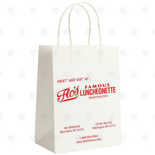 "13"" x 6"" x 15 3/4"" TUFFY Custom Printed White Shopping Bag 250 pc./Case"