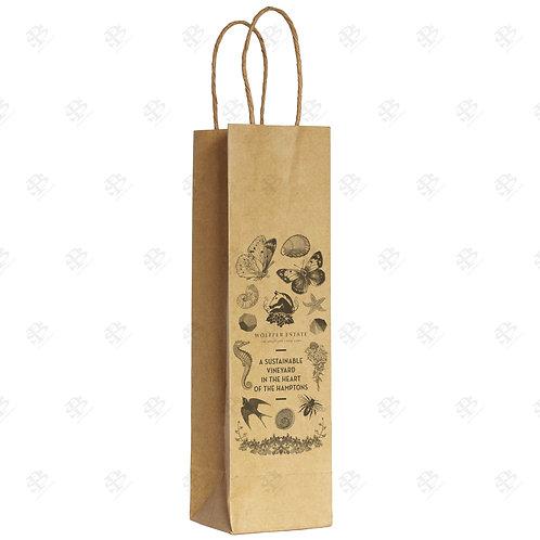 "5 1/2"" x 3 1/4"" x 13"" SINGLE WINE Custom Printed Kraft Shopping Bag 250"