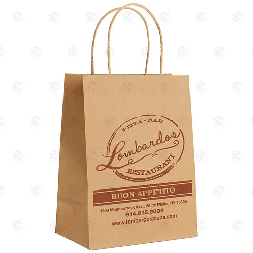 "10"" x 7"" x 12"" BISTRO Custom Printed Kraft Shopping Bag 250 pc./Case"