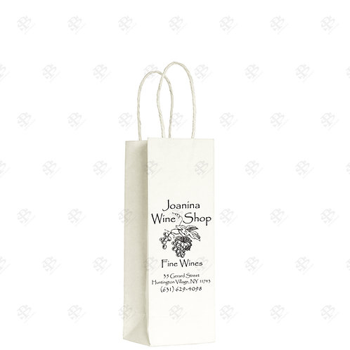 "5 1/2"" x 3 1/4"" x 8 3/8"" ROSE Custom Printed White Shopping Bag 250 pc./Case"
