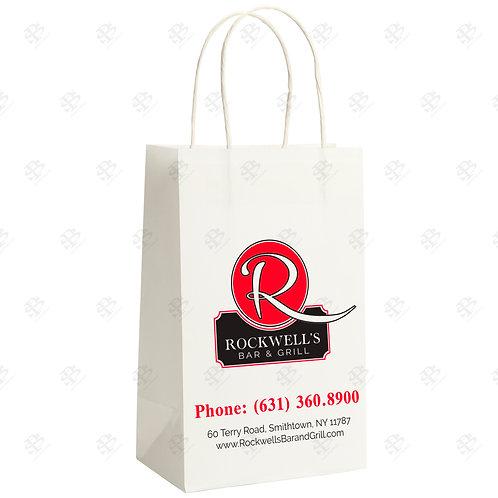 """16"""" x 6"""" x 19"""" QUEEN Custom Printed White Shopping Bag 200 pc./Case"""