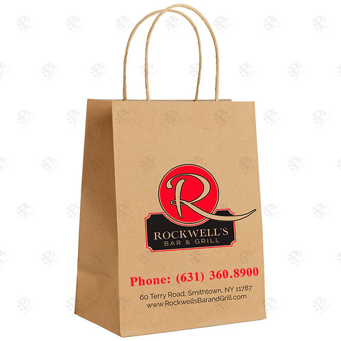"16"" x 6"" x 19"" QUEEN Custom Printed Kraft Shopping Bag 200 pc./Case"