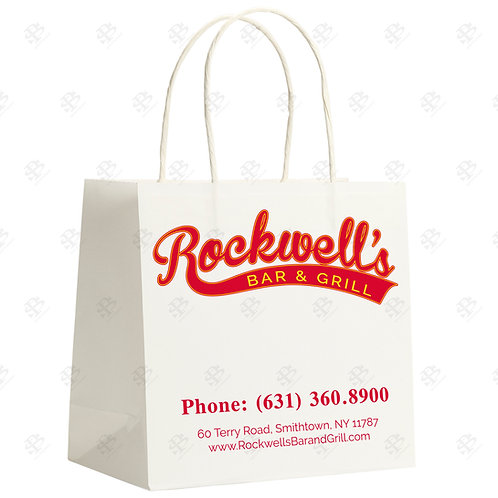 "14"" x 9"" x 15 1/2"" SUPER ROYAL Custom Printed White Shopping Bag 200 pc./Case"