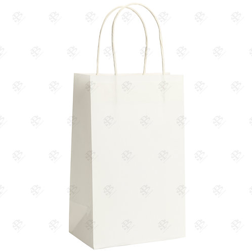 "8 1/4"" x 4 3/4"" x 10 1/4"" TINY White Shopping Bag 250 pc./Case"