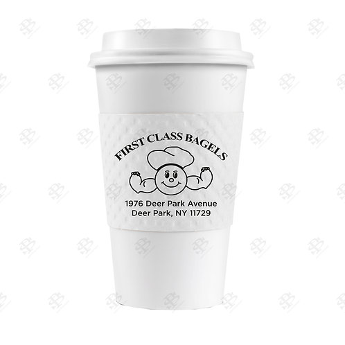 White Cup Sleeve Custom Printed 1,300  per case