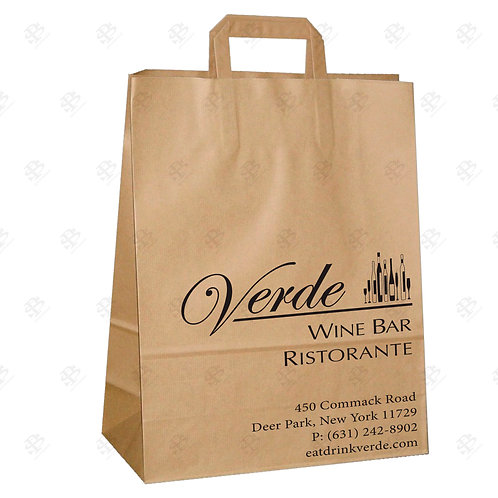 "12"" x 7"" x 16 1/2"" BBL FLAT HANDLE Kraft Shopping Bag 300 pc./Case"