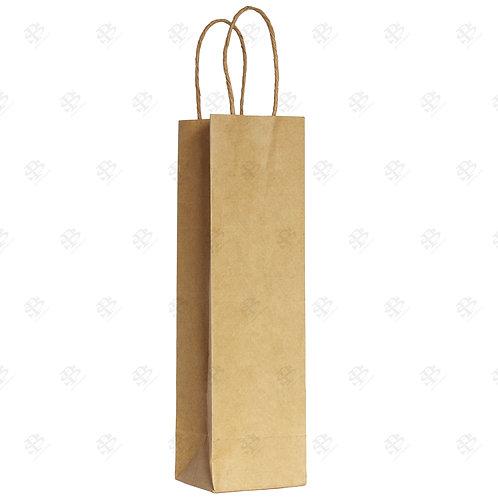 "5 1/2"" x 3 1/4"" x 13"" SINGLE WINE Kraft Shopping Bag 250 pc./Case"