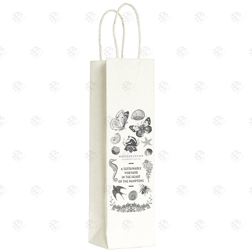 "5 1/2"" x 3 1/4"" x 13"" SINGLE WINE Custom Printed White Shopping Bag 250 pc./Case"