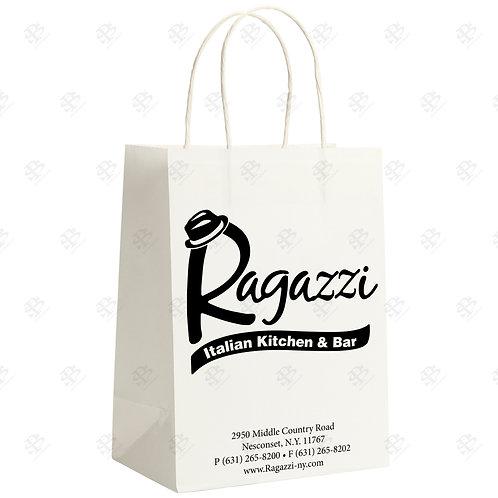 "8 1/4"" x 4 3/4"" x 10 1/4"" TINY Custom Printed White Shopping Bag 250 pc./Case"