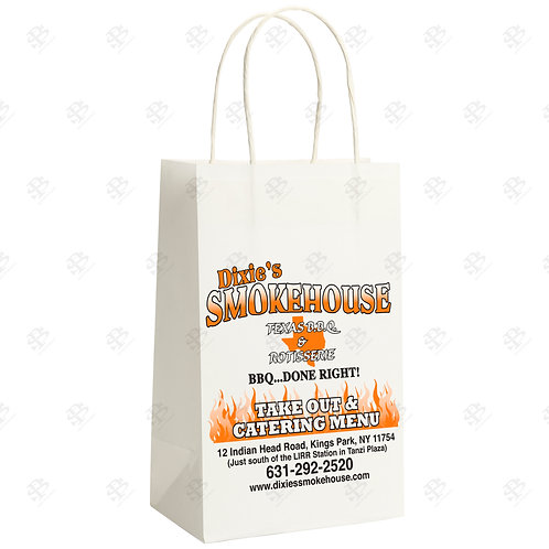 "13"" x 7"" x 17"" MART Custom Printed White Shopping Bag 250 pc./Case"