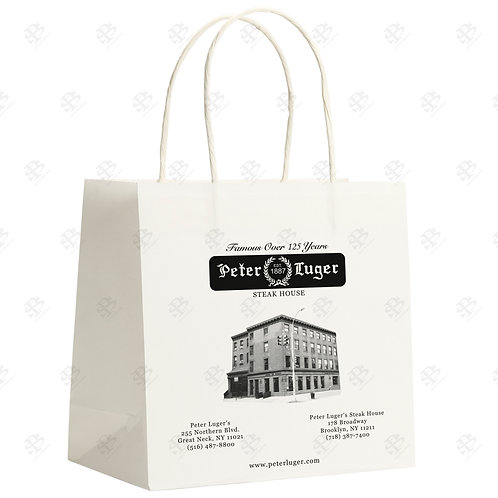 "16"" x 6"" x 16"" CLASSIC Custom Printed White Shopping Bag 200 pc./Case"