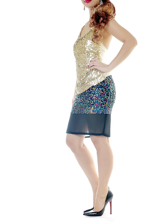 Multicolored sequined midi skirt