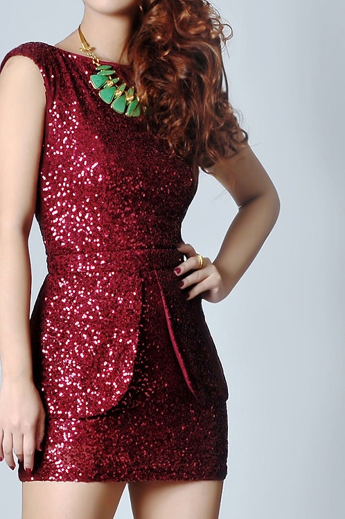Sequined dress with detachable peplum