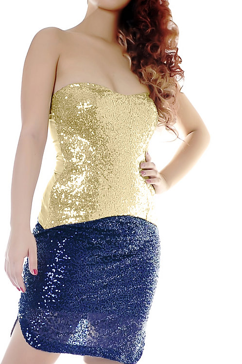 Sequined gold corset