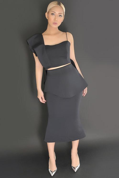 Asymmetric peplum midi skirt