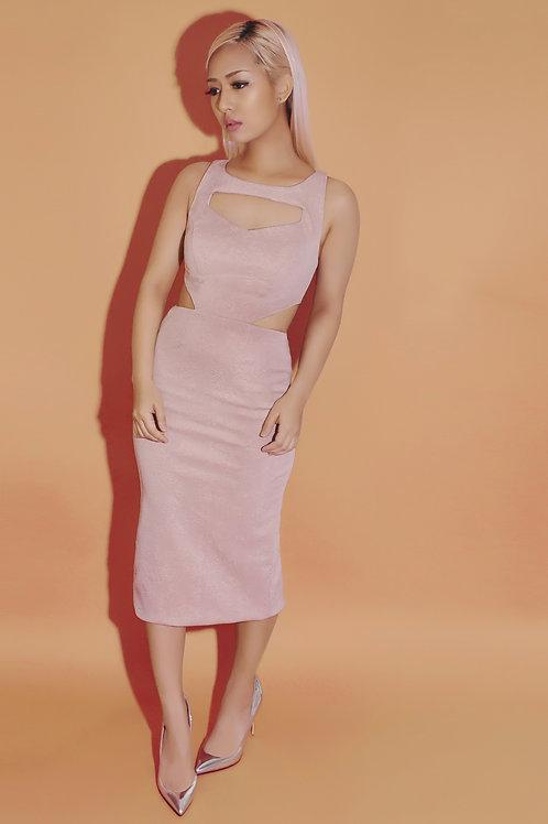 Cutout embossed midi dress