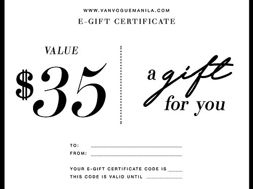 E-Gift Certificate USD 35 Value