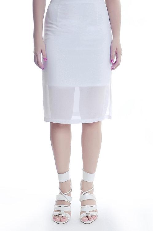 Sheer midi slit skirt