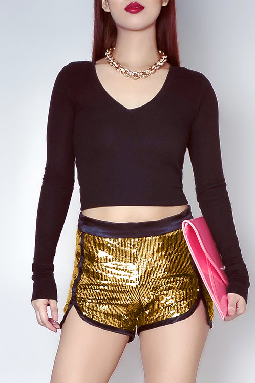 Sequined gold shorts