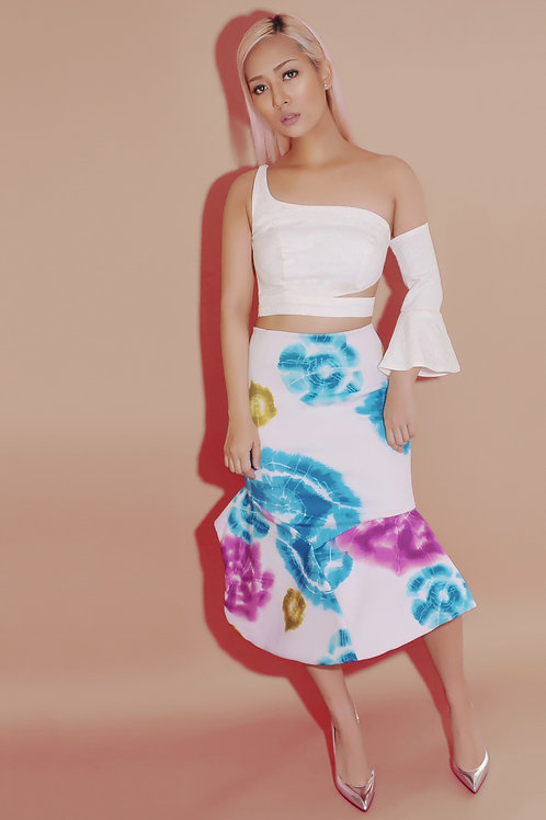 Structured floral midi skirt