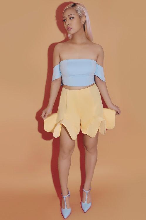 Canary yellow flounce shorts