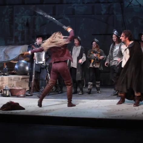 Regie: Gilbert Mieroph  Foto: Leonard Lange als Christian Daniel Koch als Cyrano Nadine Aßmann als Roxane