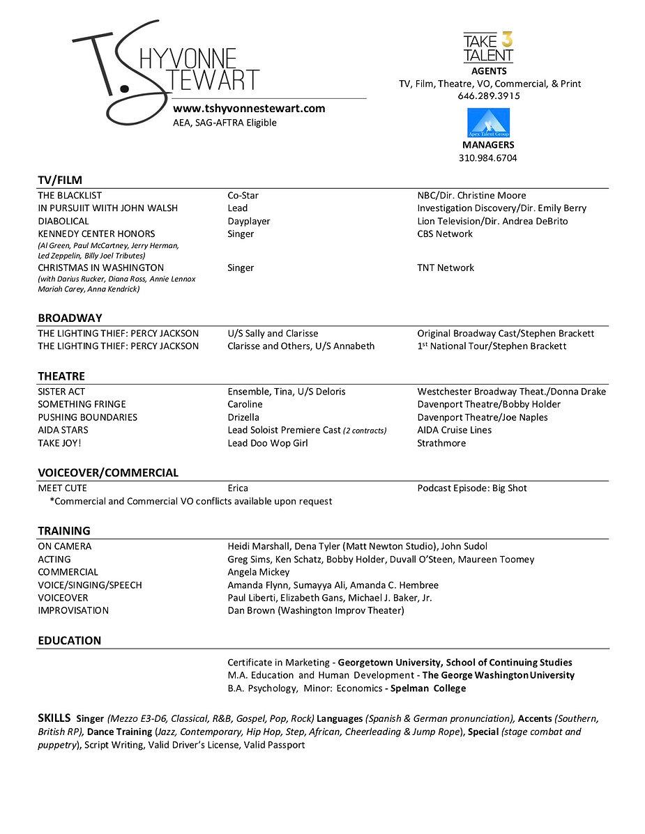 TShyvonneStewart Acting Resume OCVO-Webs