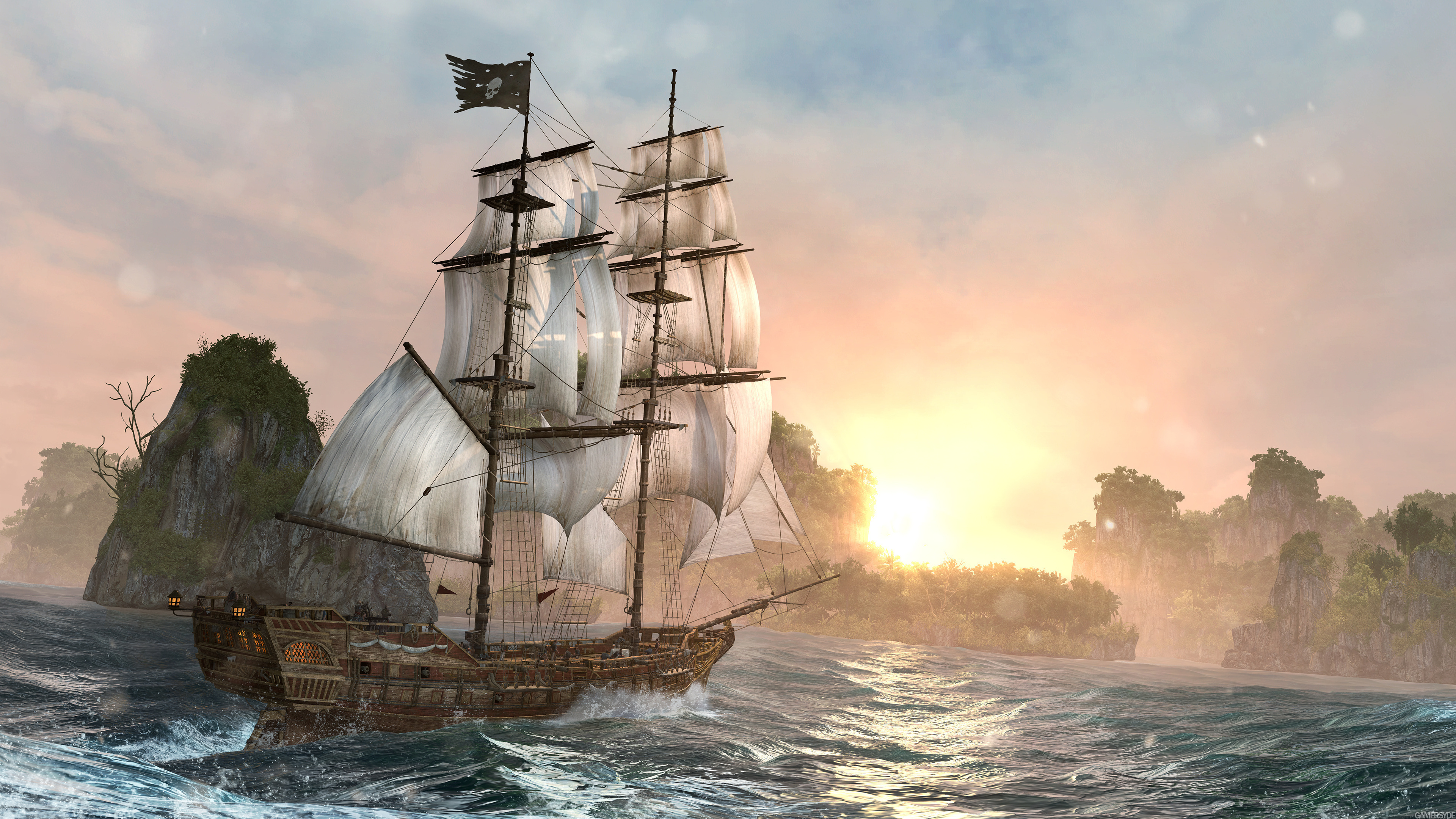 Assigncard_IV_video_game_ship_river_hd_sunrise_ultrahd_4k_wallpaper_3840x2160
