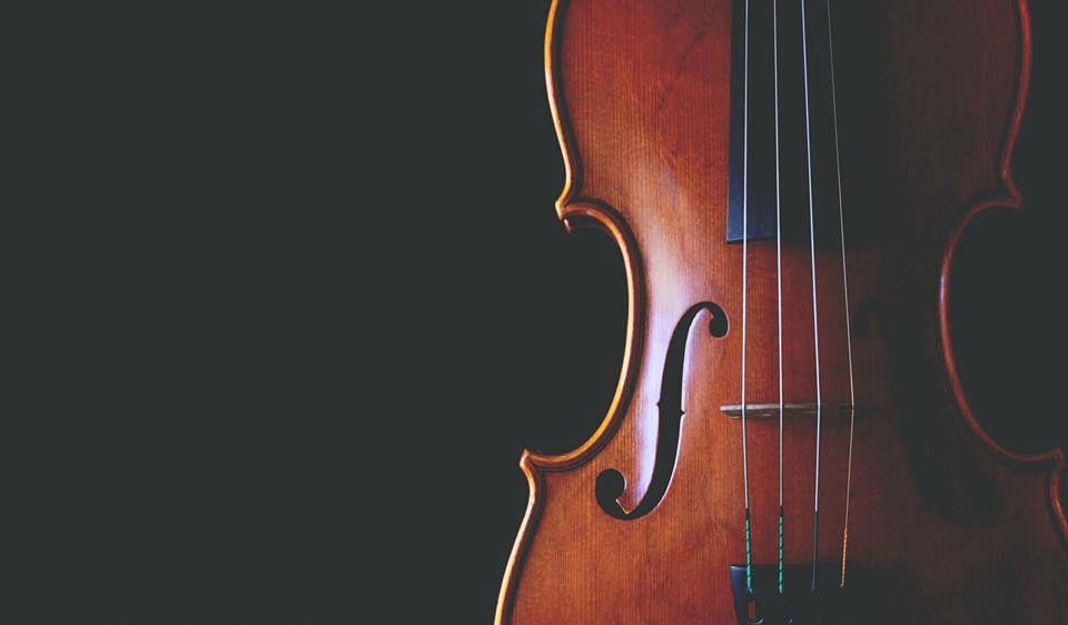 Jessica McAllister displays her violin against black background