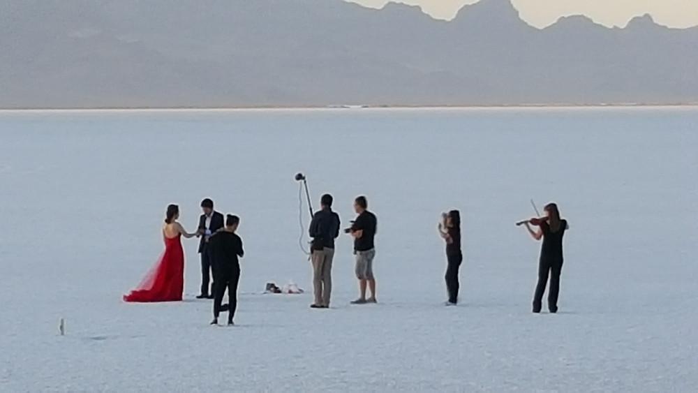 First String Violinist: plays violin for engagement at Utah Salt Flats