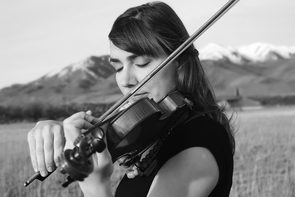 black and white violin: Jessica McAllister performs beautiful classical music in a field in Utah