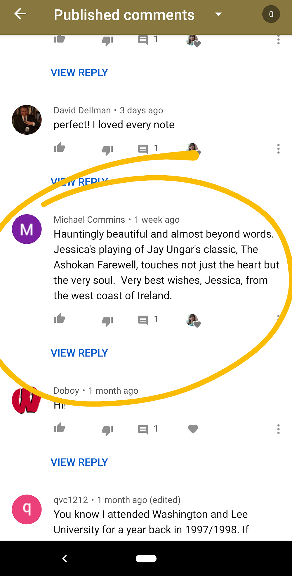 kind youtube comment on Jessica McAllister's violinist page