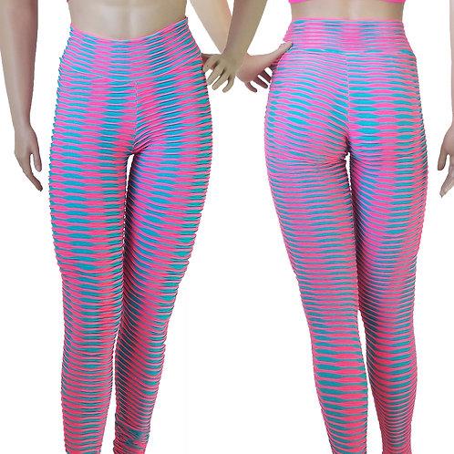 Gym Pants Blue/Pink High Waist