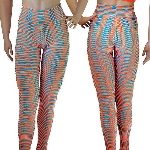 Gym Pants Blue/Orange High Waist