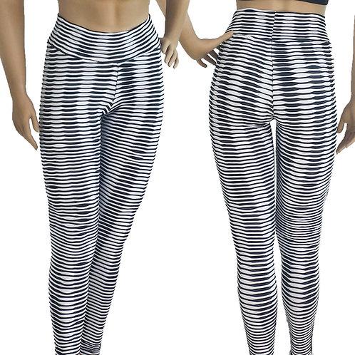 Gym Pants Black/White High Waist