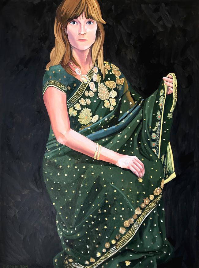 Forest Green Saree