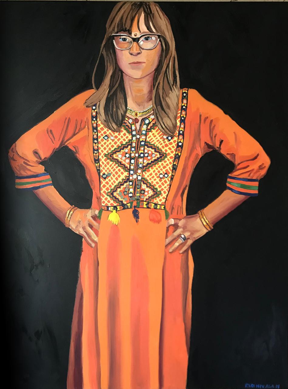 Tangerine Saree