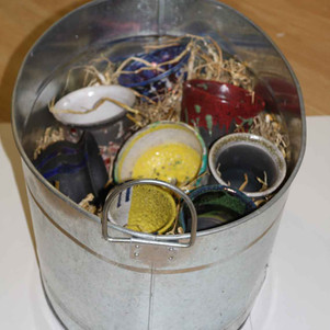 Raku fired pots made during a workshop held at Vault Studios, Belfast as part of the exchange.