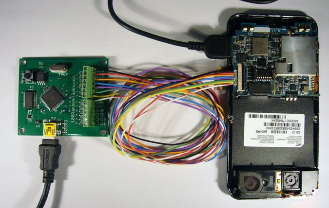 JTAG Pin Finder Connected to Samsung Phone