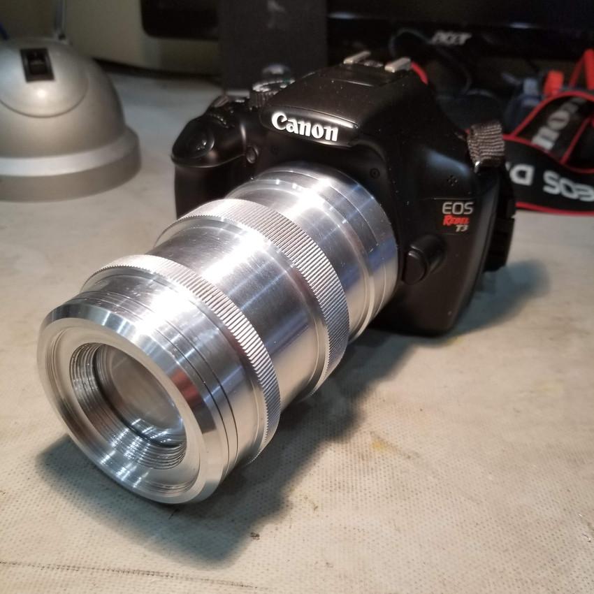Custom designed 117 mm F/4.5 mounted to Canon camera