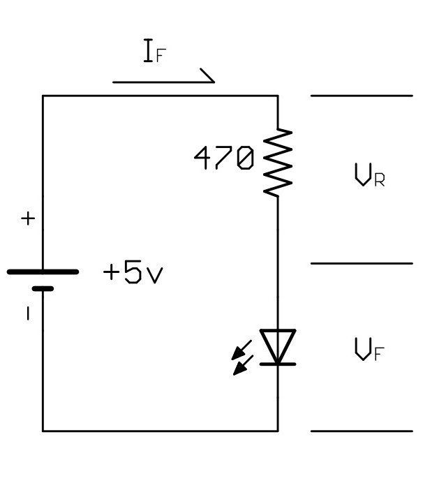 Basic LED circuit showing proper connections and variables