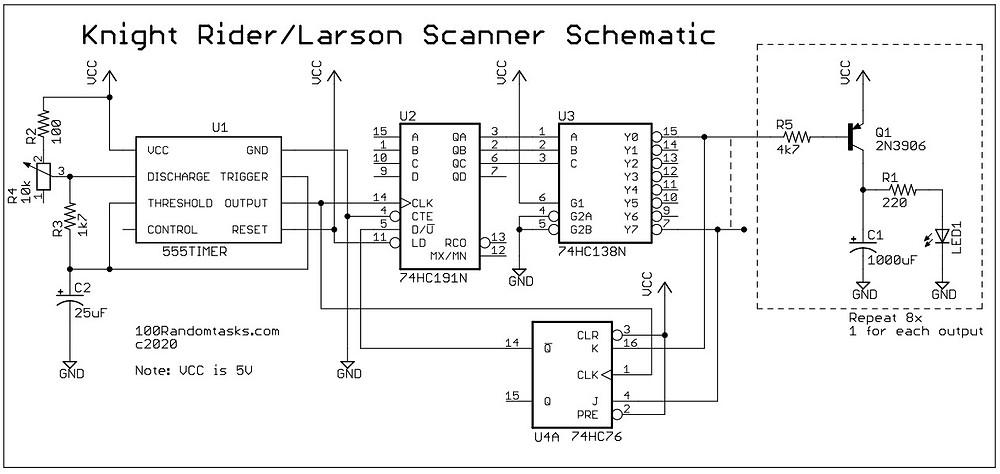 Knight Rider/Larson Scanner Schematic
