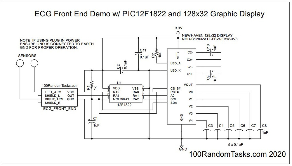 ECG Front End Demo Schematic with PIC12F1822 and 128x32 Graphic Display