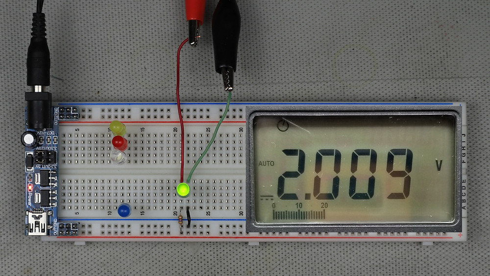 Example green LED circuit showing measured forward voltage