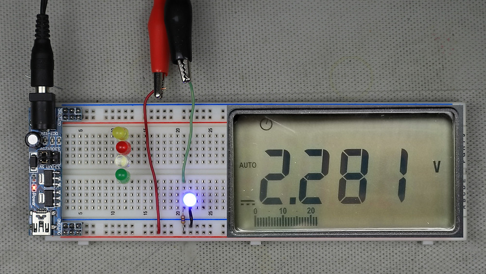 Example LED circuit showing measured current limiting resistor voltage