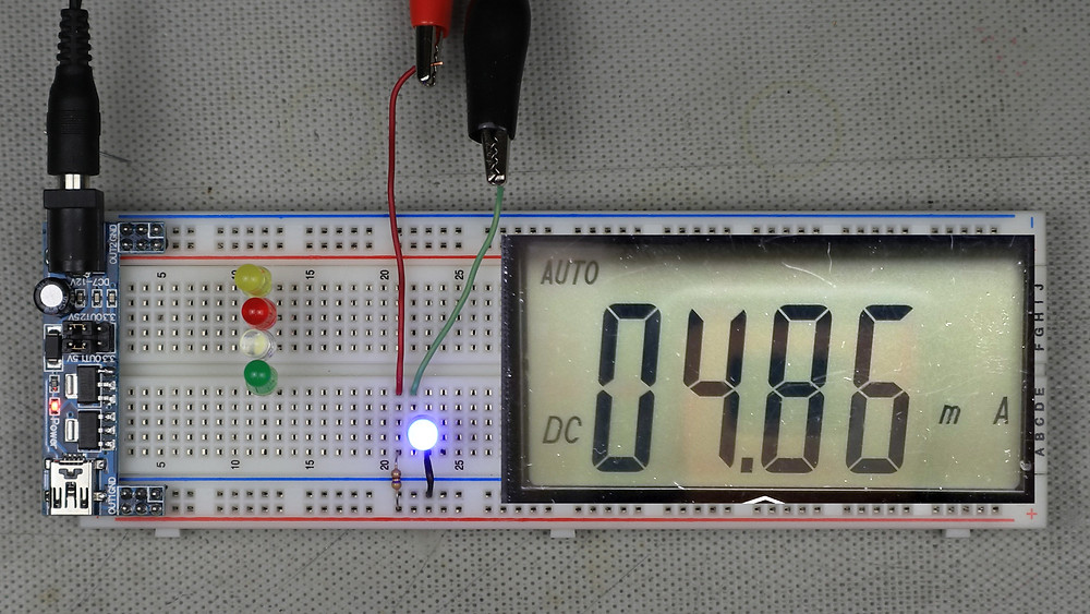 Example LED circuit showing measured current