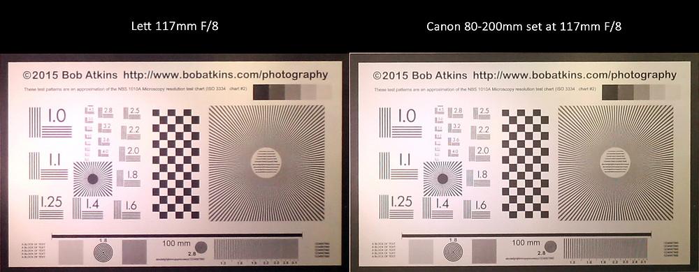 Custom designed 117 mm F/8 resolution comparison to Canon 80-200 mm